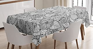 Ambesonne Ethnic Tablecloth, Monochrome Flowers Hearts and Paisley Motifs Nature Doodle with Influences, Dining Room Kitchen Rectangular Table Cover, 52