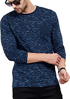 2c7fdee1 Maniac Men's Fullsleeve Round Neck All Over Printed Navy Cotton Tshirt