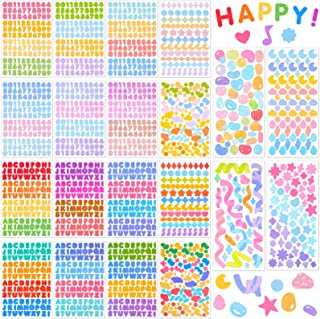 20 Sheets Colorful Number Letter Stickers Alphabet Number Star Heart Stickers Assorted Self Adhesive DIY Stickers for Arts...