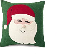 Arcadia Home Handmade Christmas Pillow in Hand Felted Wool-Santa Face on Green-20 Decorative Pillow, Multi