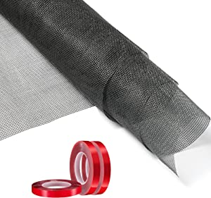 48inx 25ft Window Screens with 3 Rolls of Strong Double-Sided Tape,DIY Custom Fiberglass Screen Mesh,Flex Window Screens Expandable for Sunshade Cloth,Garden and Pet Fence,Windows,doors and Patio,Grey