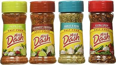 Mrs. Dash Extra Spicy(2.5oz), Southwest Chipotle(2.5oz), Garlic & Herb (2.5oz) and Fiesta Lime (2.4oz) Salt-Free Seasoning (Bundle)