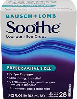 Bausch & Lomb Soothe Lubricant Eye Drops, 28-Count Single Use Dispensers