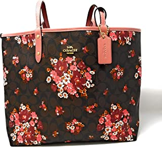 Women's REVERSIBLE CITY TOTE IN SIGNATURE CANVAS WITH MEDLEY BOUQUET PRINT (F32084)