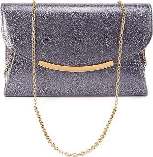Anladia Women Glitter Shiny Flap Metal Bar Evening Clutch Bag Prom Party Handbag Purse