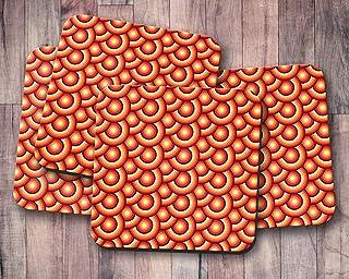 Posavasos naranja con diseño de círculos retro de los años 70, posavasos individuales o juego de 4