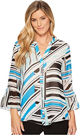 Calvin Klein - Button Front Print Flare Sleeve Blouse