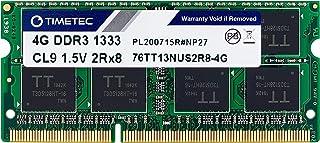 Timetec Hynix IC 4GB DDR3 1333MHz PC3-10600 Non ECC Unbuffered 1.5V CL9 2Rx8 Dual Rank 204 Pin SODIMM Laptop Notebook Comp...