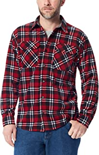 Authentics Men's Long Sleeve Plaid Fleece Shirt, Rio red...