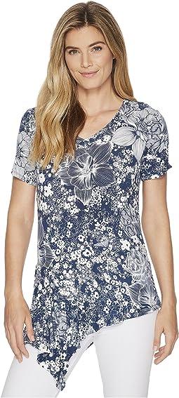 Ivanka Trump - Short Sleeve Printed Asymmetrical Knit Tee