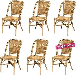 Rotin Design Rebajas : -45% Lote 6 sillas de ratán Miel Baratas para Comedor Selva