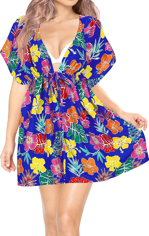 LA LEELA Women's Allover Print Swimwear Coverups Bathing Suit Beach Summer Top Y