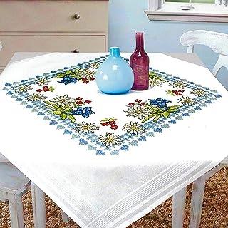 Kamaca Stickpackung Tischdecke Alpenblumen Kreuzstich vorgezeichnet aus Baumwolle Stickset mit Stickvorlage Mitteldecke 80x80 cm