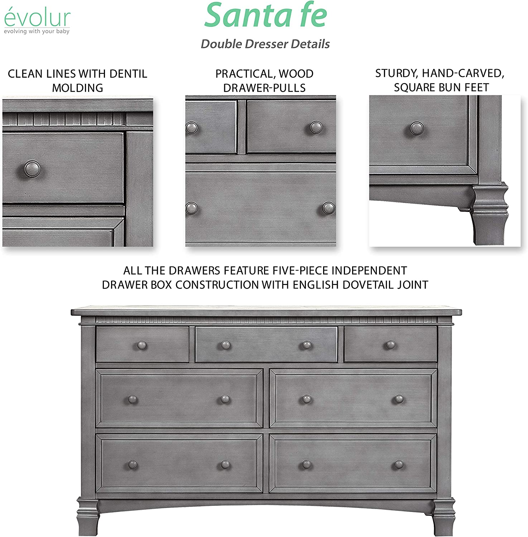 Evolur Santa Fe Double Dresser Storm Grey