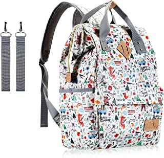 Diaper Bag Backpack,UACNDO Waterproof Cute Design Baby Nappy Backpack for Boys and Girls with Insulated Pockets & Stroller Straps