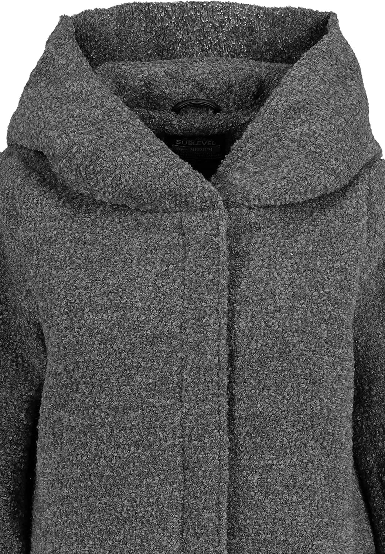 Sublevel Damen Winter-Mantel mit Kapuze aus Woll-Mix Dark-grey