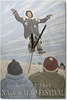 Lantern Press Alaska Blanket Toss - Nalukataq Festival, Alaska (10x15 Wood Wall Clock, Decor Ready to Hang)