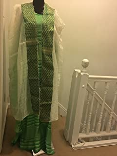 Ethiopian Traditional Dress -Green-Lime-Horizontal Strip color,New-Design With Netela