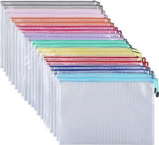 ipow 30 Pcs A4 Pochette à Document/Sac de Fichier en Plastique PVC Mesh Zip Classeur Dossier Chemise Imperméable, Ranger P...