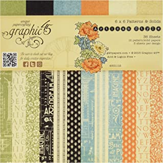 Graphic 45 Artisan Style Patterns and Solids, 6 by 6-Inch