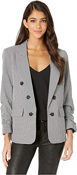Ruched Sleeve Seersucker Gingham Blazer