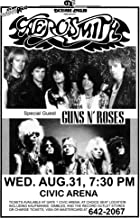 Innerwallz Aerosmith Permanent Vacation Tour 1988 with Guns N' Roses Retro Art Print — Poster Size — Print of Retro Concert Poster — Features Steven, Joe, Tom, Joey, and Brad