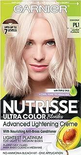 Garnier Nutrisse Ultra Color Nourishing Permanent Hair Color Cream, PL1 Ultra Pure Platinum (1 Kit) Blonde Hair Dye (Packaging May Vary)