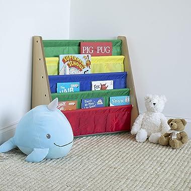 Humble Crew Kids Book Rack Storage Bookshelf, 4 Tiers, Wood, Toddler, Natural/Primary