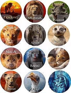 "Lion King 2019 Movie Stickers, Large 2.5"" Round Circle DIY Stickers to Place onto Party Favor Bags, Cards, Boxes or Containers -12 pcs Simba Nala Mufasa Timon Pumbaa Rafiki Scar Zazu Sarabi"