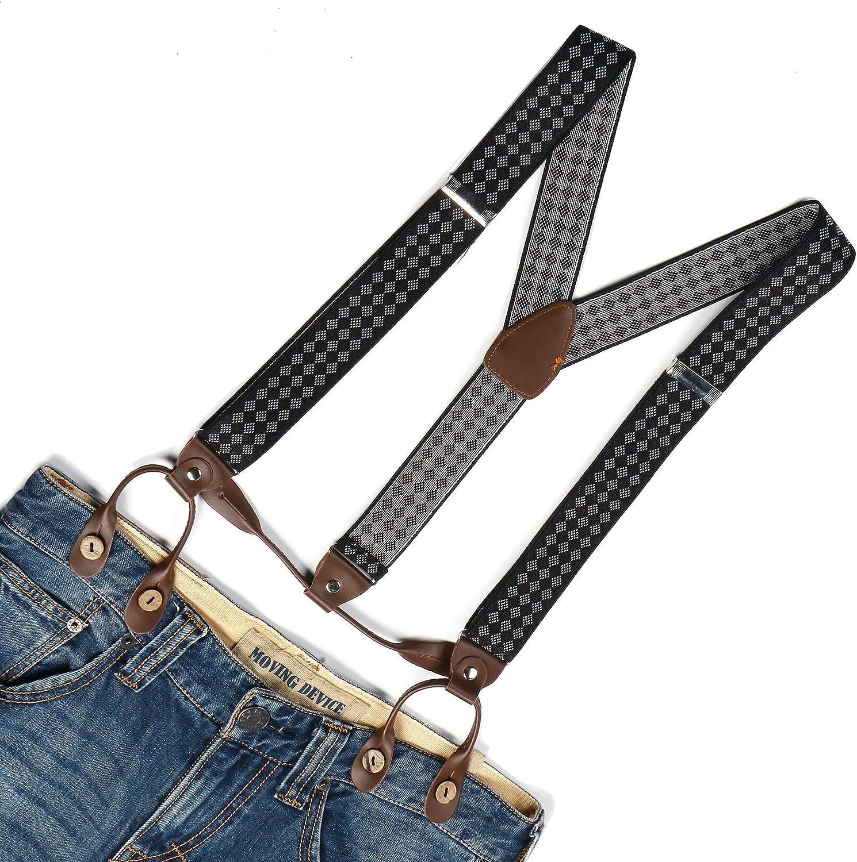 Enwis Mens Suspenders Braces Elastic Button Holes Checkers Brown White