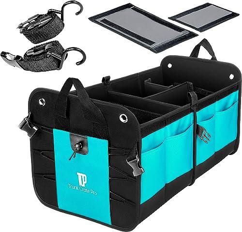 TRUNKCRATEPRO Premium Multi Compartments Collapsible Portable Trunk Organizer for auto, SUV, Truck, Minivan (Black) (...