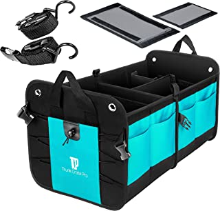 TRUNKCRATEPRO Premium Quality Collapsible Portable Heavy Duty Multi Compartments Trunk Organizer with Non-Skid Bottom, Cyan Green
