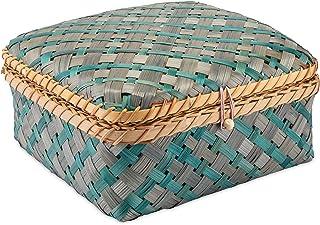Decorasian Caisse tressée en bambou – Coffre décoratif avec couvercle bleu vert taille L
