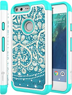 Style4U Google Pixel XL Case, Pixel XL Bling Case, Studded Rhinestone Crystal Bling Hybrid Armor Case Cover for Google Pixel XL with 1 Stylus (Flower White and Teal)