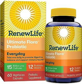 Renew Life Adult Probiotic - Ultimate Flora Everyday Probiotic, Shelf Stable Probiotic Supplement - 15 Billion - 60 Vegeta...