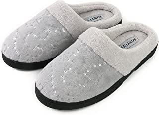 KOMYUFA Women's Soft House Cotton Slippers Washable Flat Closed Toe Lightweight Indoor Outdoor Shoes(Grey)