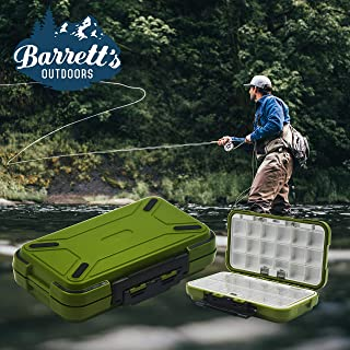 Barrett's Outdoors Small Tackle Box for Fly Fishing with 30 Adjustable Removable Tackle Box Organizer Waterproof Compartments. Great for Jewelry & Medicine Storage