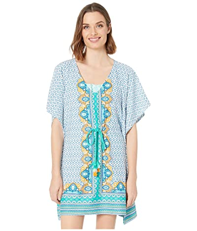 Cabana Life Jewel Scarf Coverluxe Tie Waist Cover-Up (Turquoise Multi) Women