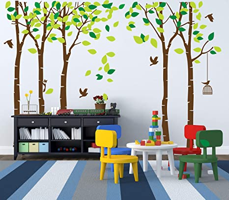Anber Giant Jungle Tree Wall Decal Removable Vinyl Mural Art Wall Stickers For Kids Nursery Bedroom Living Room Amazon Ca Home Kitchen