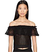 Jonathan Simkhai - Ruffle Crochet Off the Shoulder Crop Top