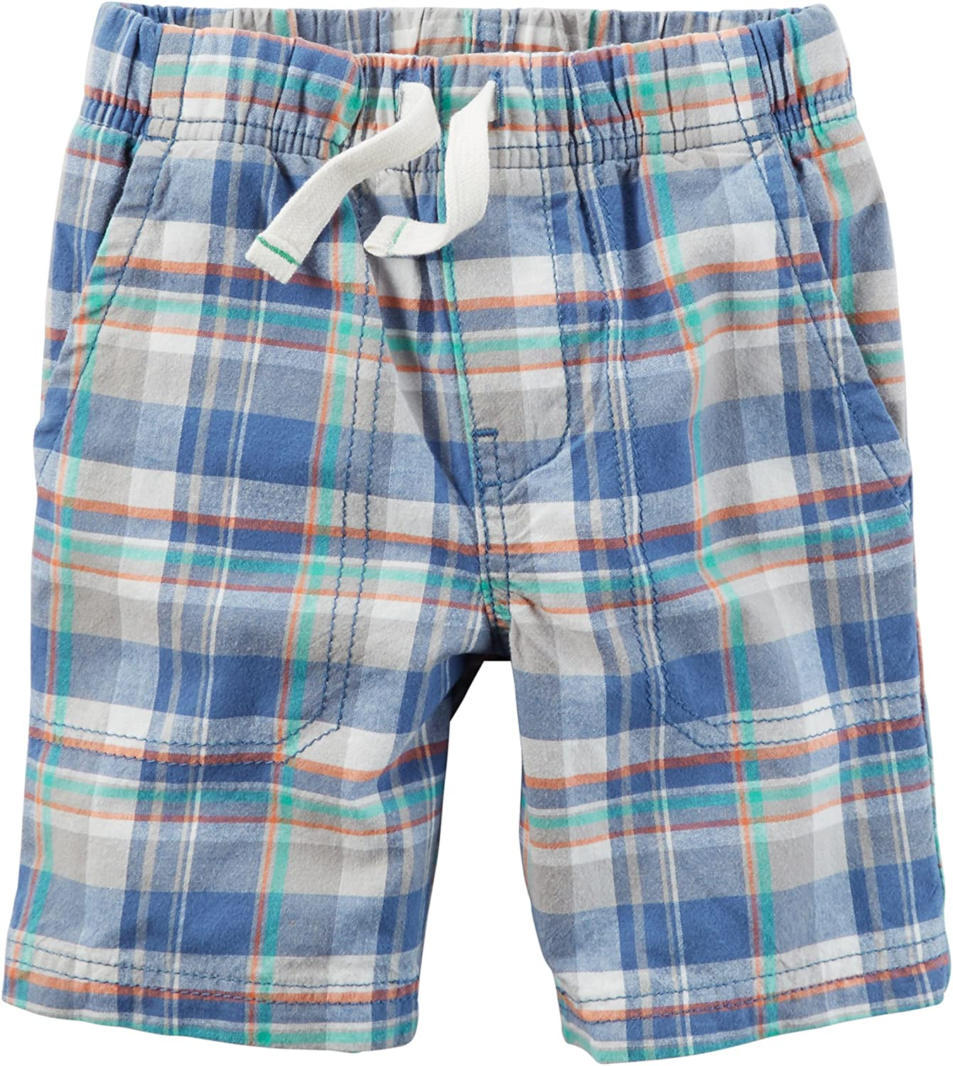 Carter's Boy's Blue Plaid Max 71% OFF Pull OFFicial mail order Months On 9 Shorts Cotton