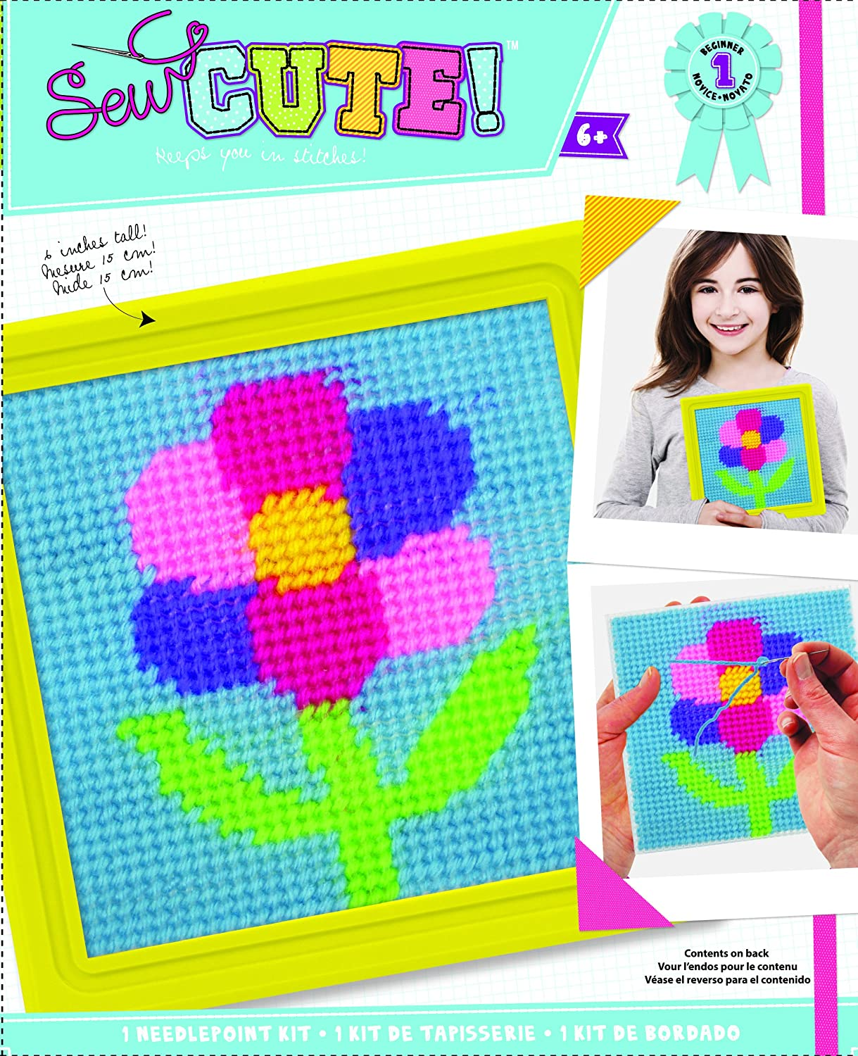 colorbok Sew Cute Flower Needlepoint Kit6inch x 6inch Stitched in Yarn