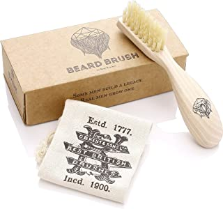 Kent BRD2 Men's Beard and Mustache Brush - Specially Cut Natural White Boar Bristle for Flawless Shaping and Grooming. Ergonomic Pistol-Like Grip Wood Handle. Dry or Wet Beard, Distributes Oils/Balms