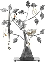 MyGift Silver Metal Jewelry Tree with Bird Nest - Holds up to 48 Pair Earrings