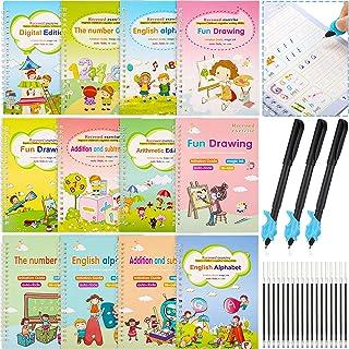 12 Pieces Magic Practice Copybook Reusable Calligraphy Copybook Magic Handwriting Copybook with 18 Pieces Refills, Alphabe...
