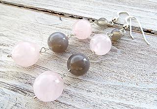 Orecchini con quarzo rosa, agata grigia e argento 925, pendenti lunghi con pietre dure, gioielli moderni, bijoux fatti a m...
