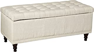 Homelegance Lift Top Storage Bench with Tufted Accents, Beige Fabric