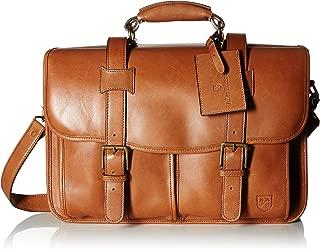 Men's Double Flap Briefcase Tan Saddle