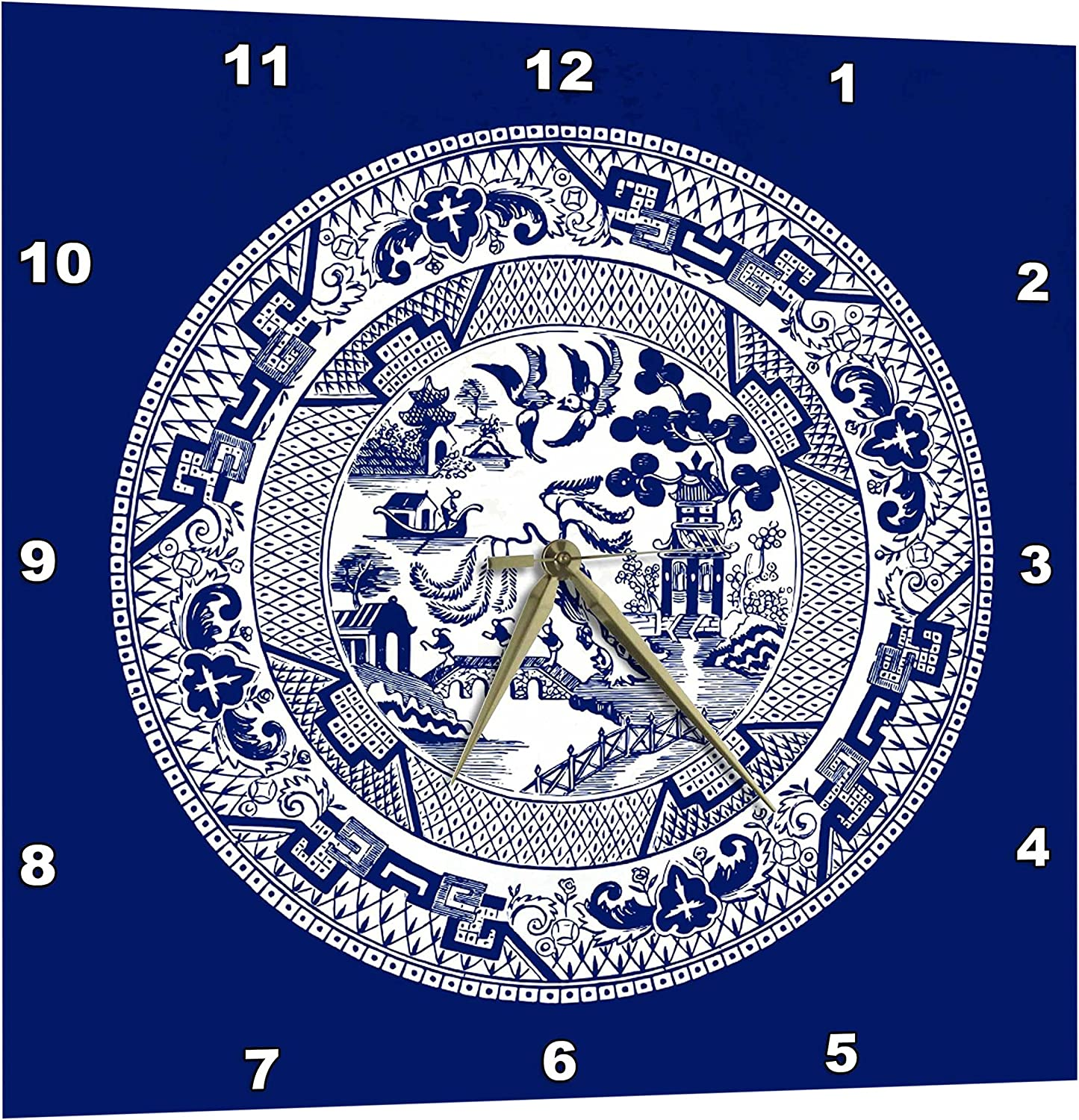 3dpink Willow Pattern in Delft bluee and White - Wall Clock, 15 by 15-Inch (DPP_220439_3)