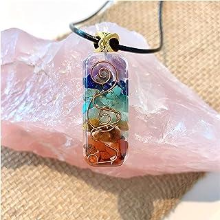 قلادة كريستال من PSEEHEE Orgone Chakra شفاء قلادة من الأحجار الشاكرا ل EMF حماية مجوهرات الشفاء الروحي الرجال النساء (7 شاكر)